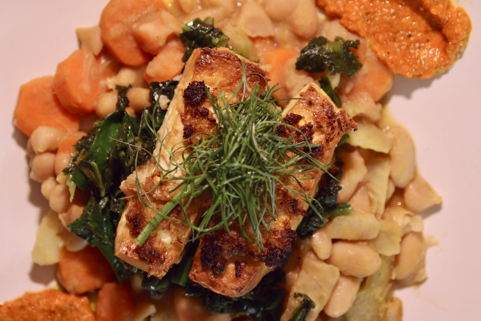 Roasted tofu with brothy beans and kale