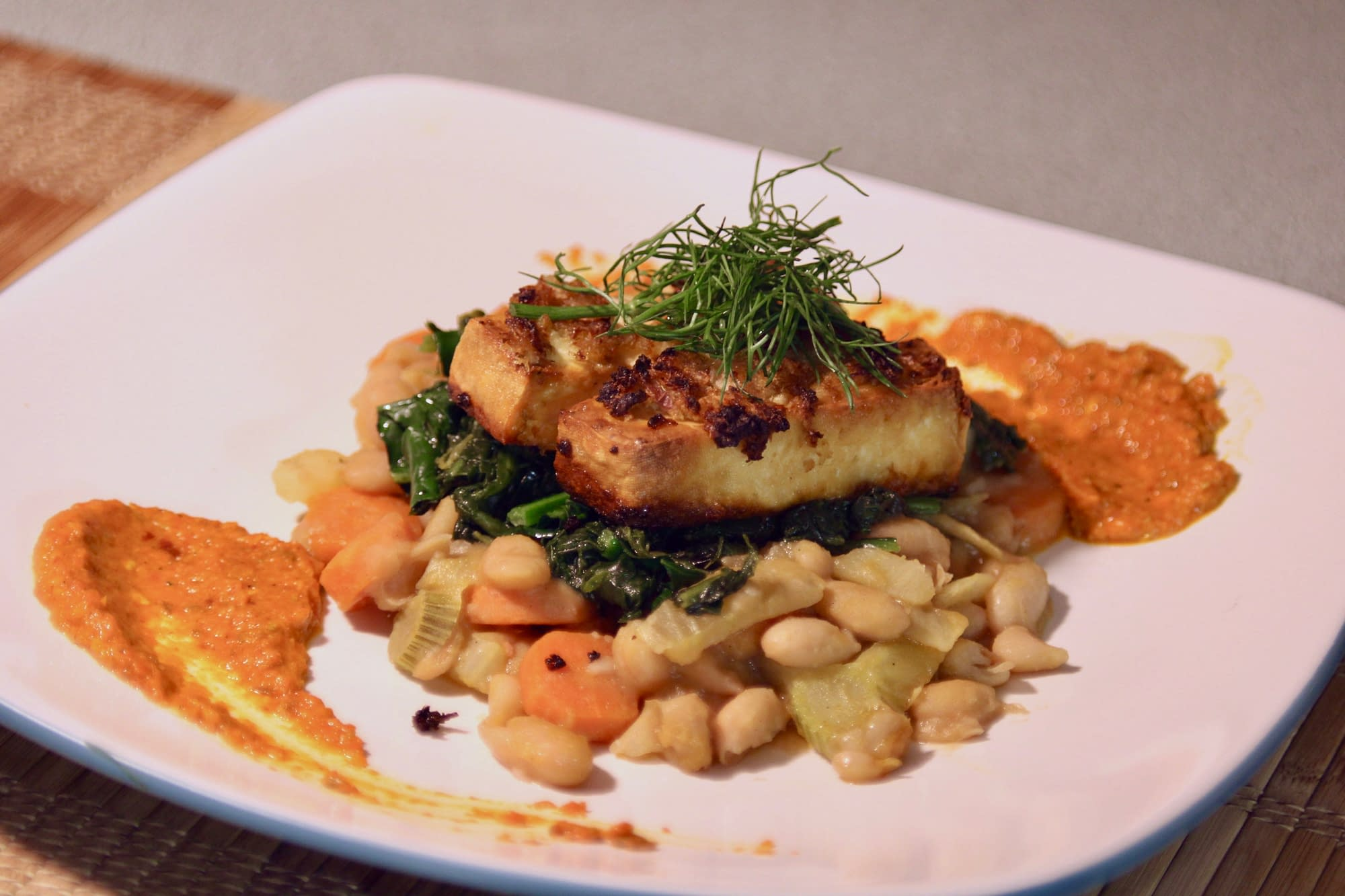 Roasted Tofu with white beans and kale
