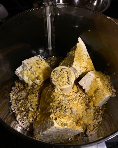 Tofu ricotta in the food processor for the vegan mushroom lasagna.