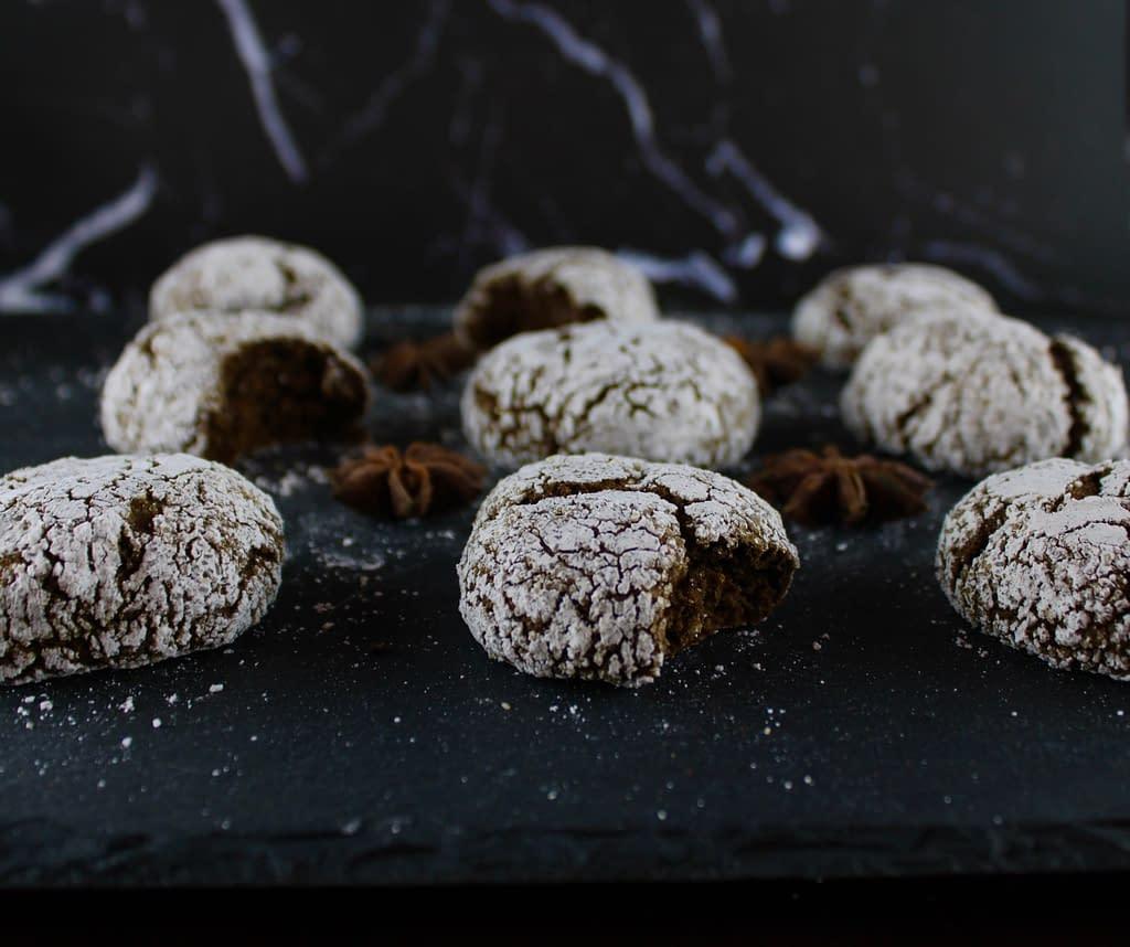 Gluten-free vegan gingerbread crinkle cookies