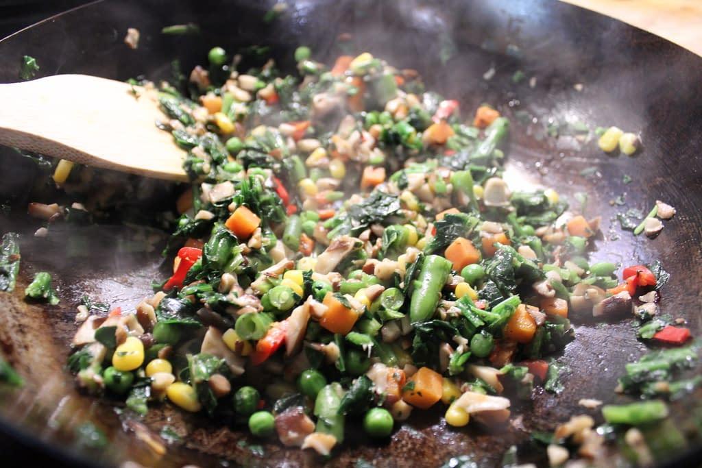 Sauteeing veggies for the tofu foo young.