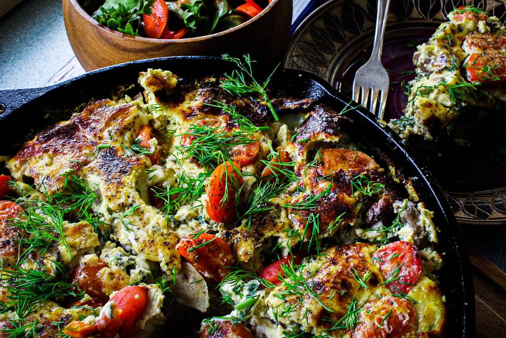 Frittata and salad.