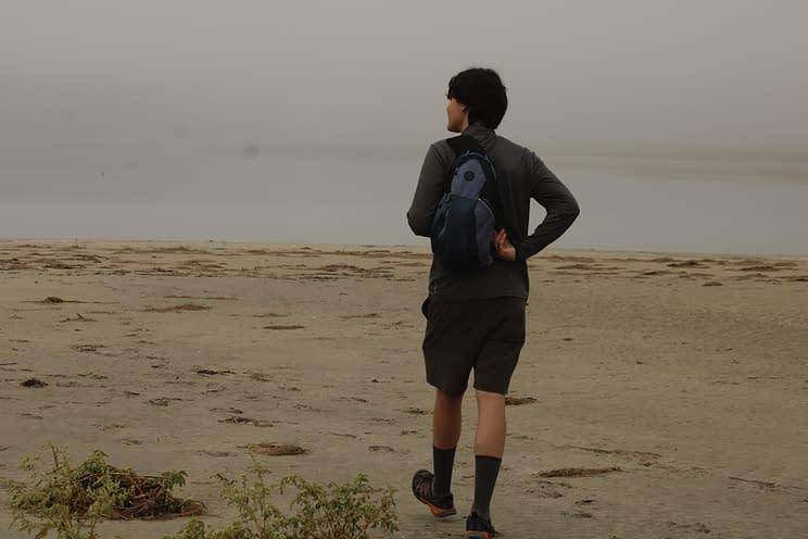 Ryan walking on Seawall Beach
