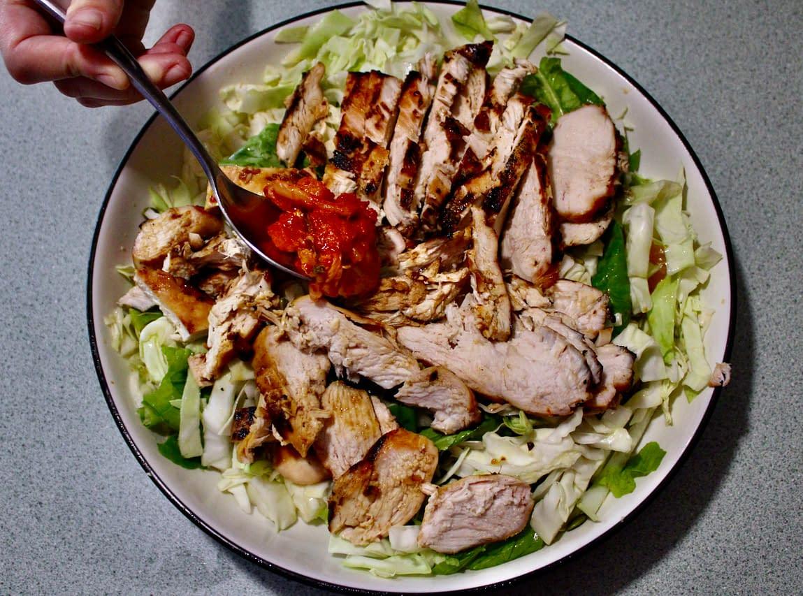 Spicy grilled chicken salad.