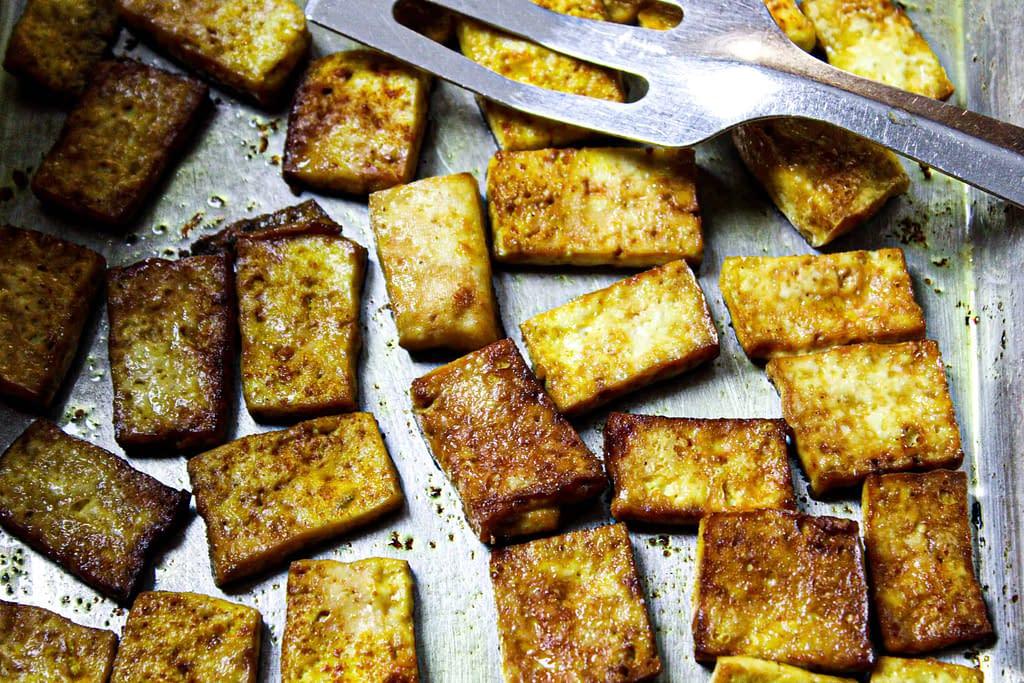 Tofu strips baking.
