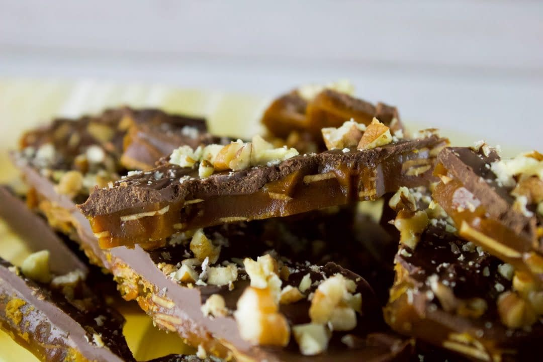 Almond crunch toffee candy.