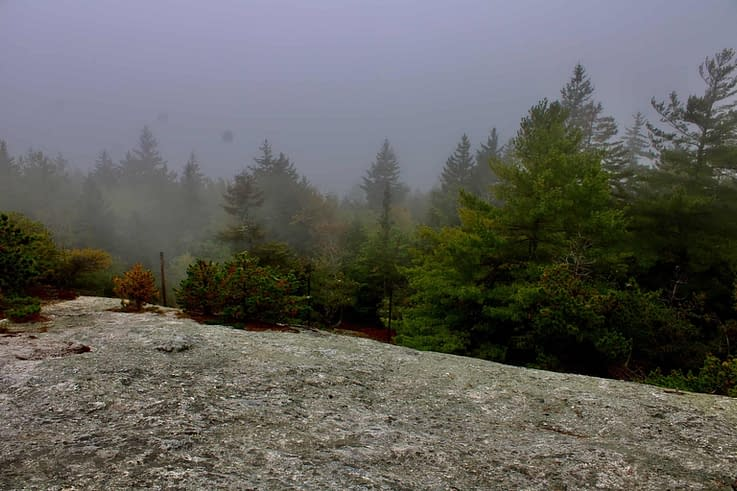 The summit of Morse Mountain while hiking in Maine.