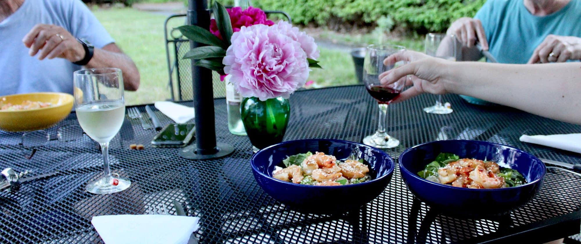 A summer shrimp salad dinner