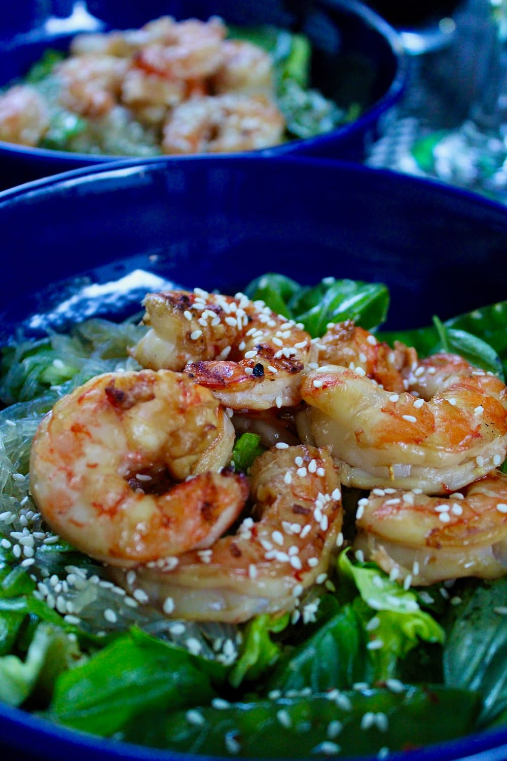 Spicy basil and grilled shrimp.