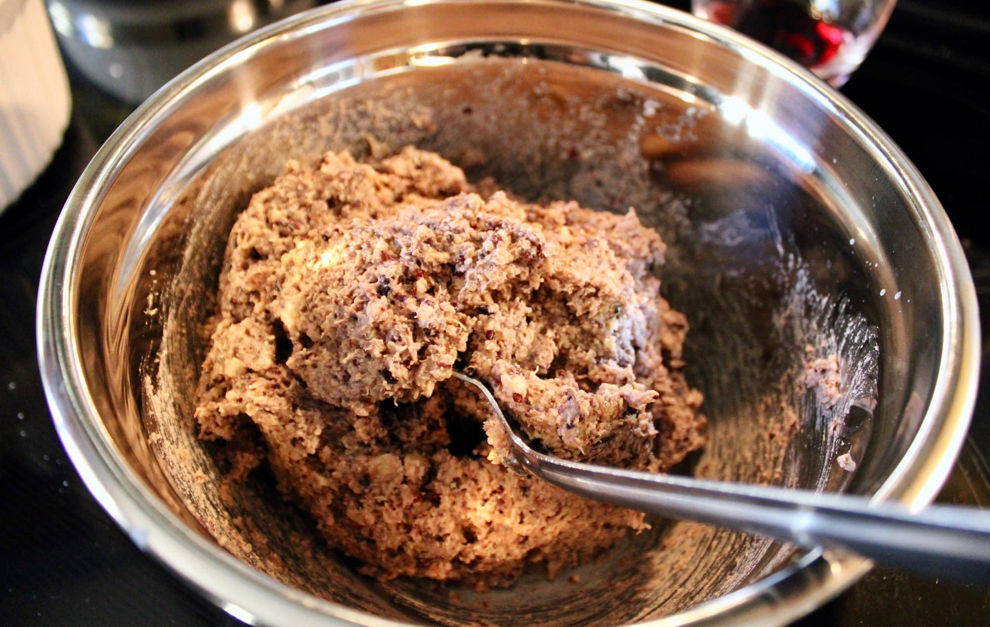 Meatloaf mixture after food processing.