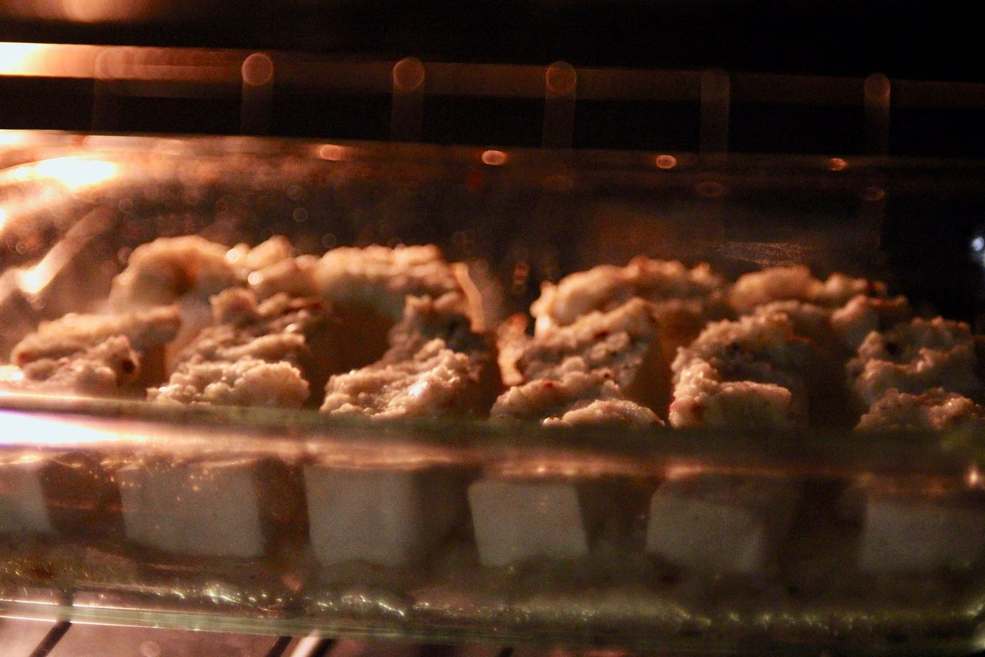 Tofu baking in the oven.