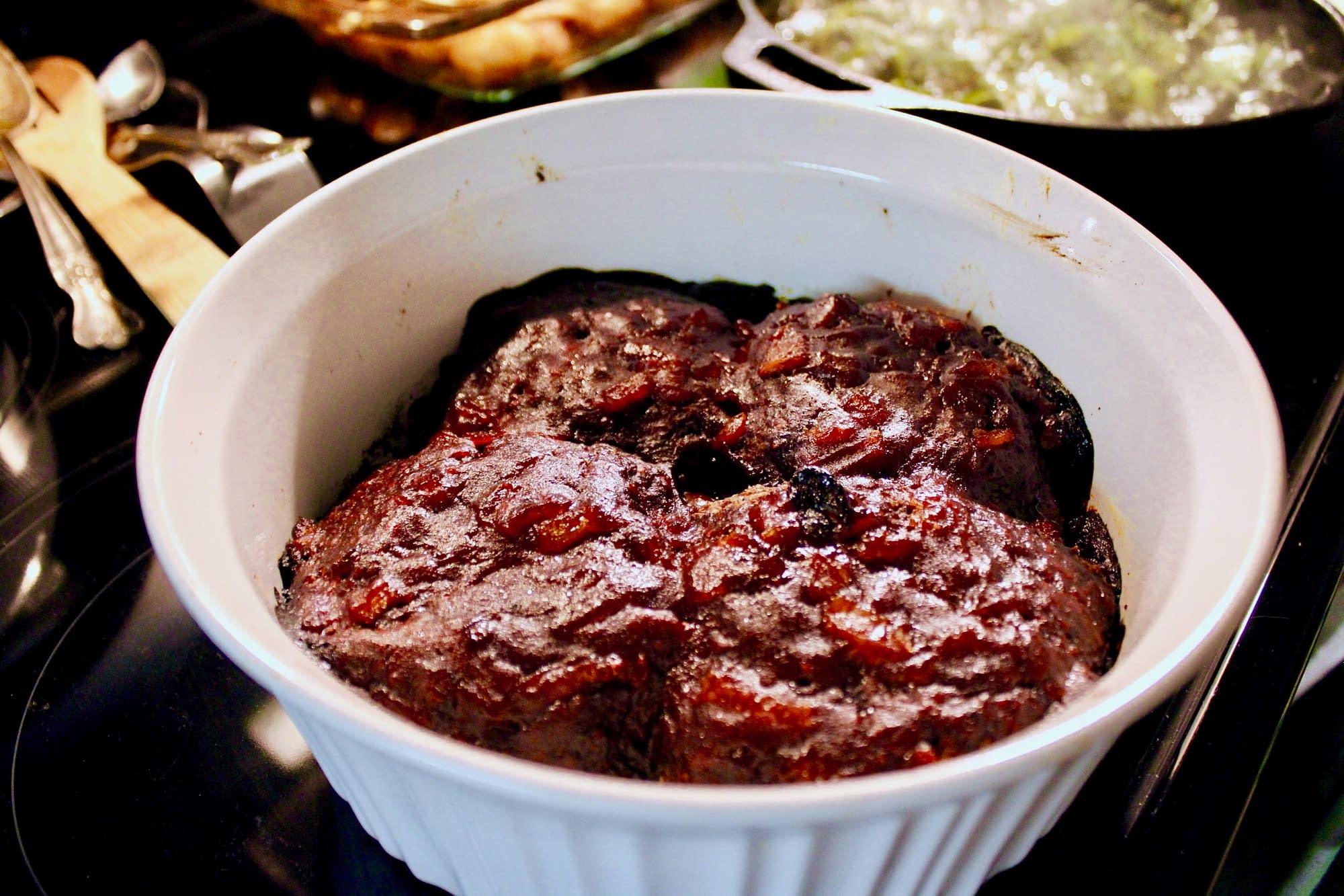 Cooked vegan meatloaf.