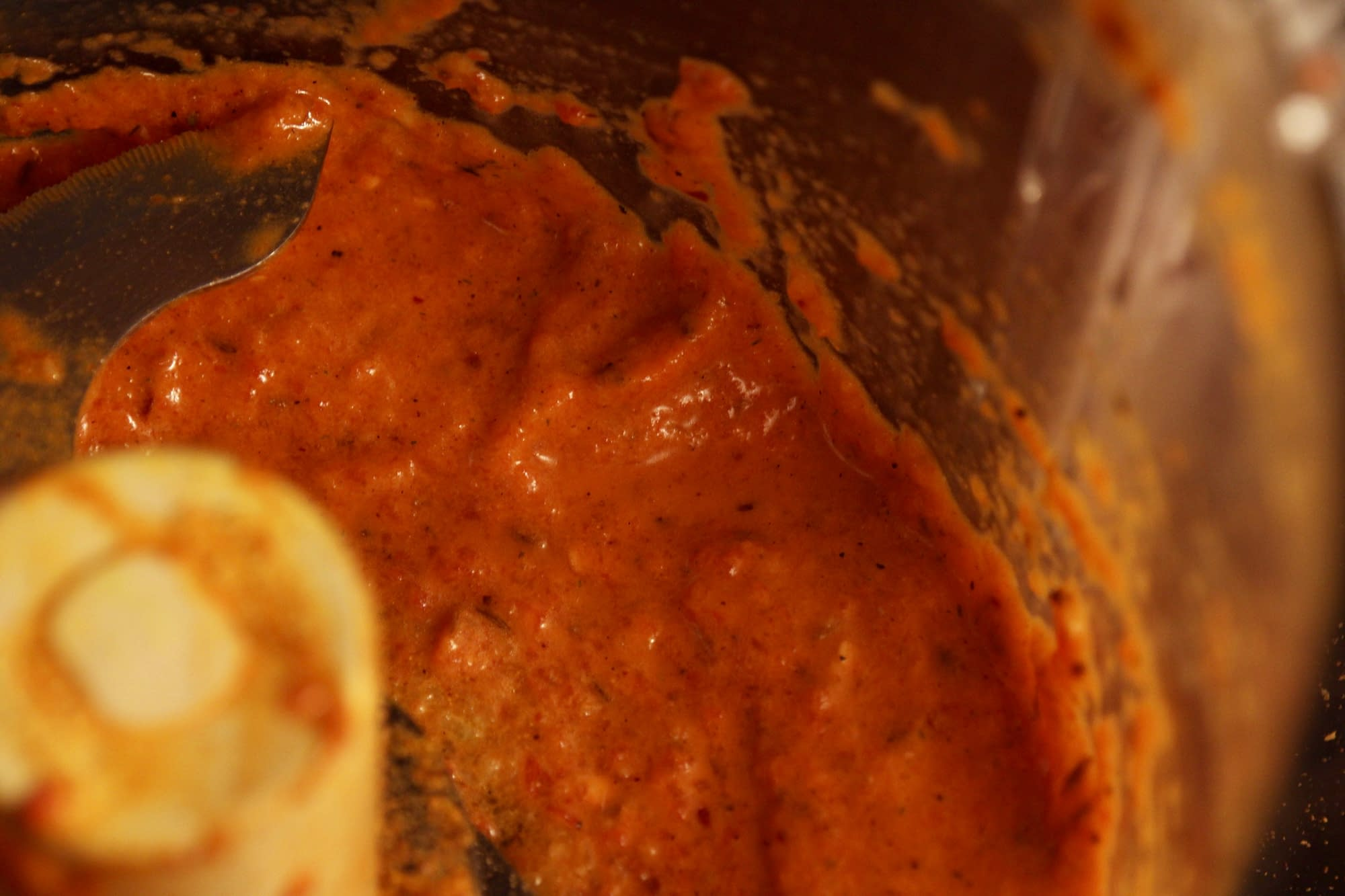 Roasted red pepper sauce in the food processor to top the roasted tofu, white beans, and kale
